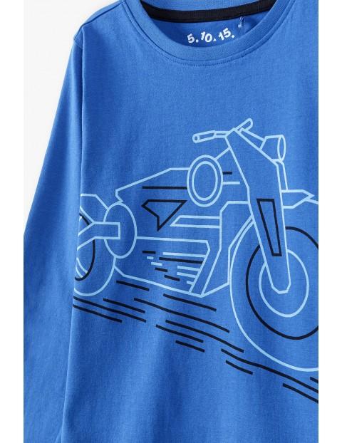 Bluzka chłopięca z długim rękawem- niebieska z motocyklem