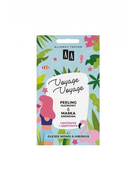 AA Voyage Voyage 2w1 peeling olejowy+maska kremowa olej monoi&hibiskus 2x5 ml