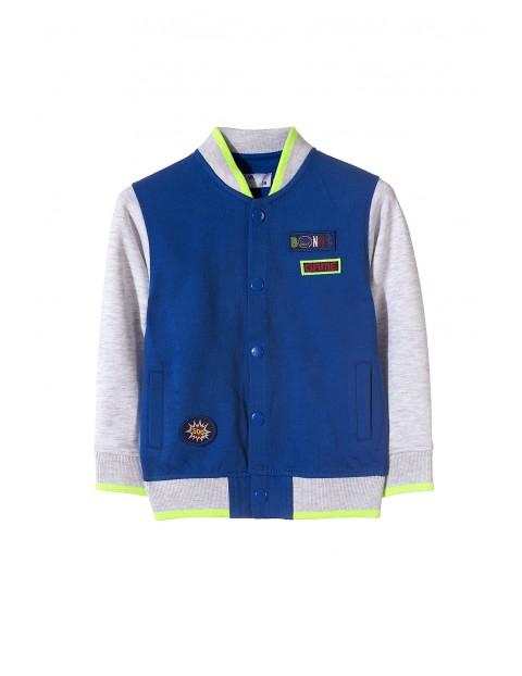 Niebieska bawełniana bluza-bomberka dla chłopca