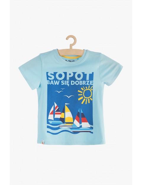 T-shirt chłopięcy niebieski- Sopot baw się dobrze
