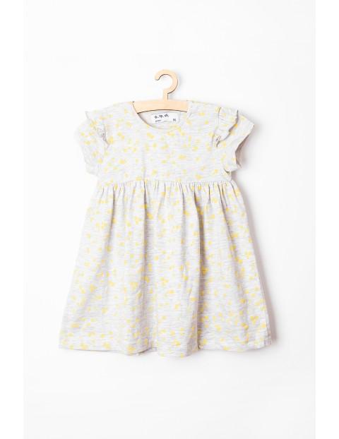 Sukienka niemowlęce szara w żółte serduszka