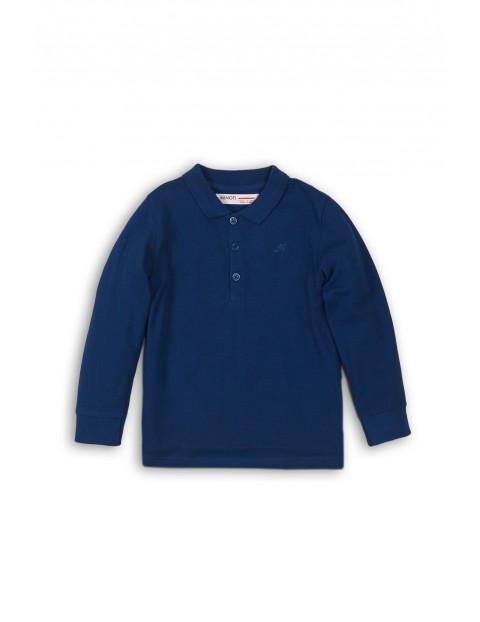 Granatowa bluzka z kołnierzykiem- długi rękaw