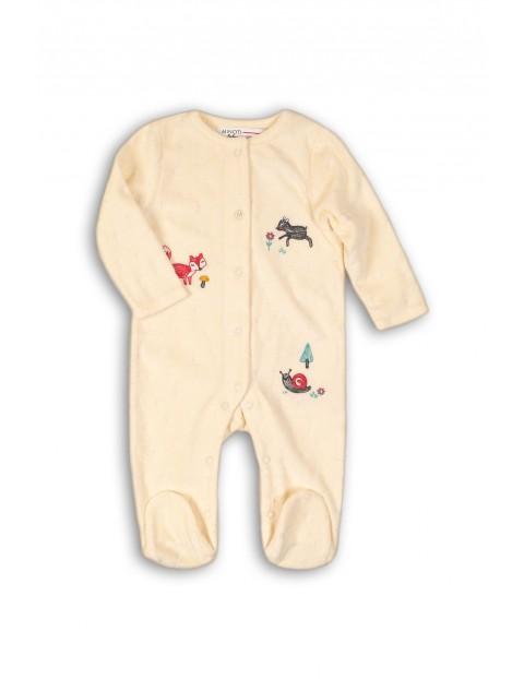 Pajac niemowlęcy welurowy- kremowy w zwierzątka leśne