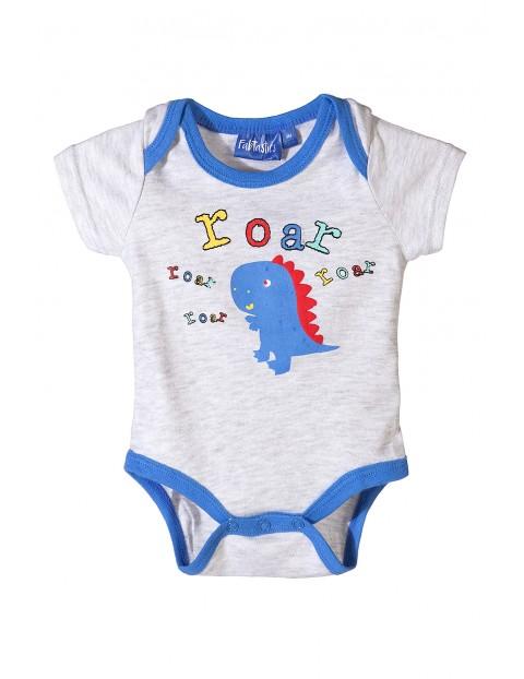 Body niemowlęce szare z dinozaurem