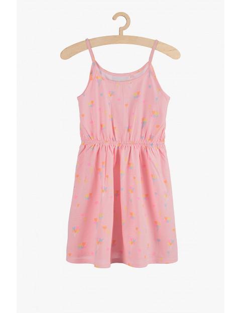 Sukienka dziewczęca różowa- bawełniana
