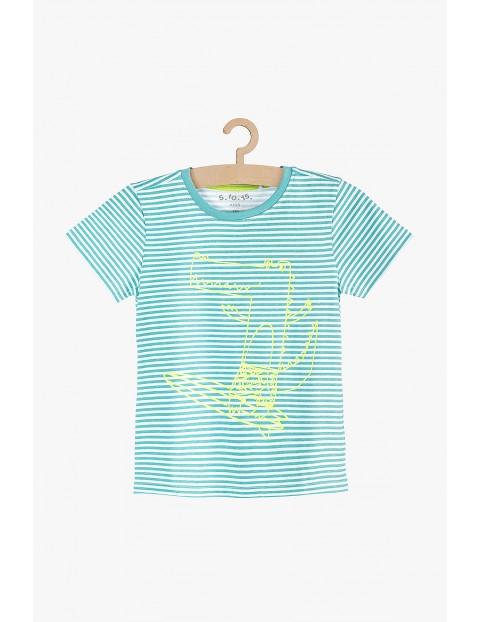 Bawełniany t-shirt chłopięcy niebieski w paski