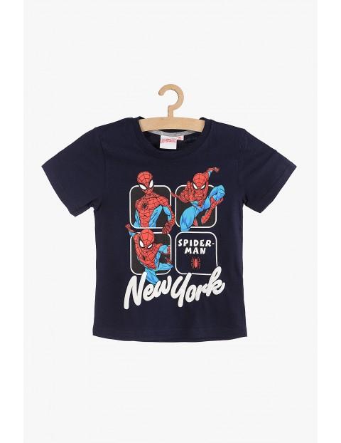 T-Shirt chłopięcy Spiderman New York granatowy