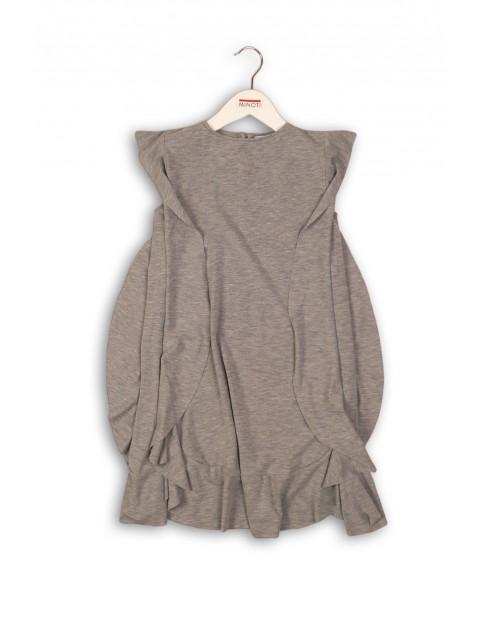 Dzianinowa sukienka dla dziewczynki-szara