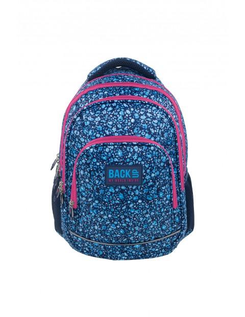 Plecak szkolny BackUP z odblaskami + SŁUCHAWKI - niebieski w kwiatuszki