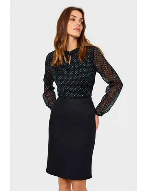Koszula damska z długim rękawem w kropki - czarna