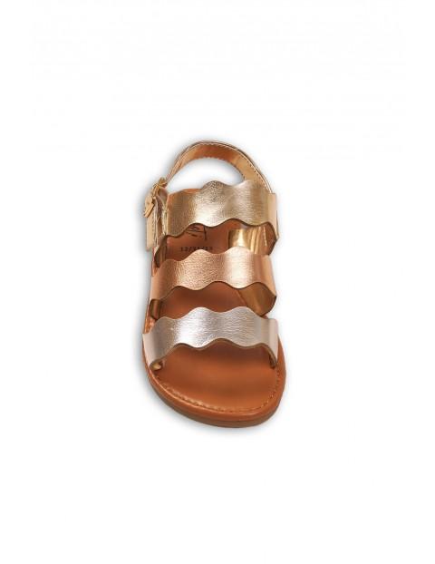 Sandałki dla dziewczynki- złoty róż