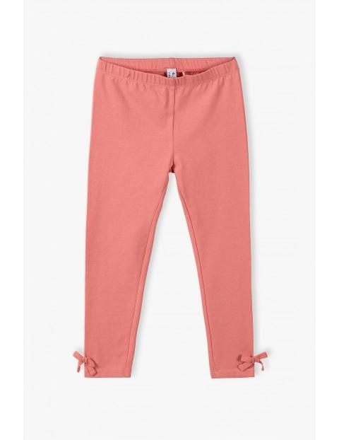 Leginsy dziewczęce z kokardkami na nogawkach- różowe