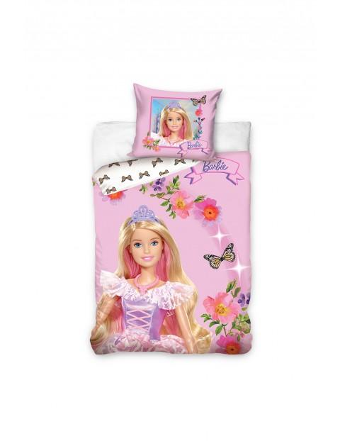 Komplet pościeli bawełnianej  Barbie - różowa 140x200+70x90 cm