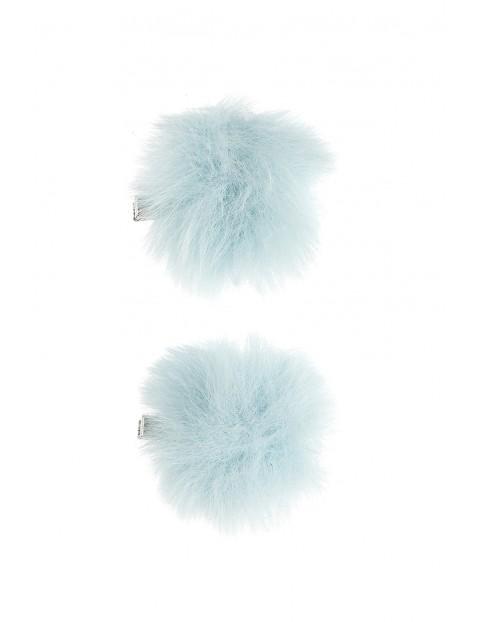 Spinki dziewczęce z niebieskim futerkiem 2szt