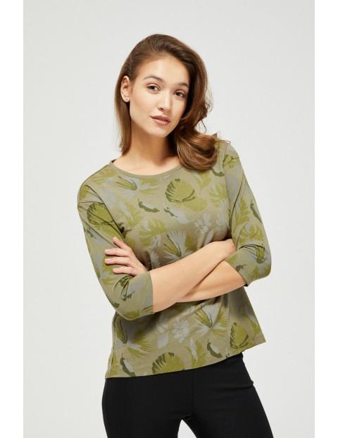 Bluzka bawełniana z motywem roślinnym