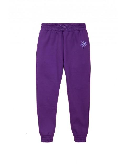 Spodnie dresowe dziewczęce - fioletowe