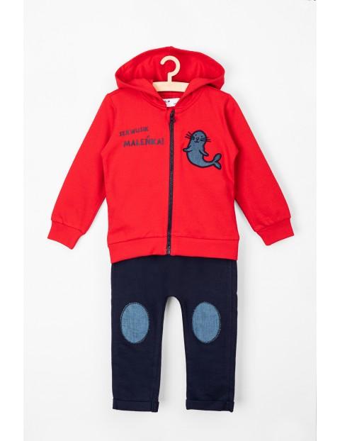 Komplet ubrań dla niemowlaka czerwona bluza i spodnie dresowe