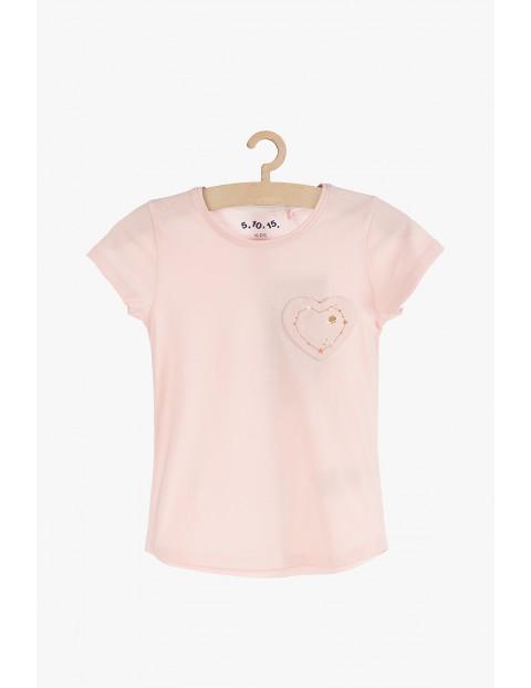Różowy t-shirt z serduszkiem z przodu