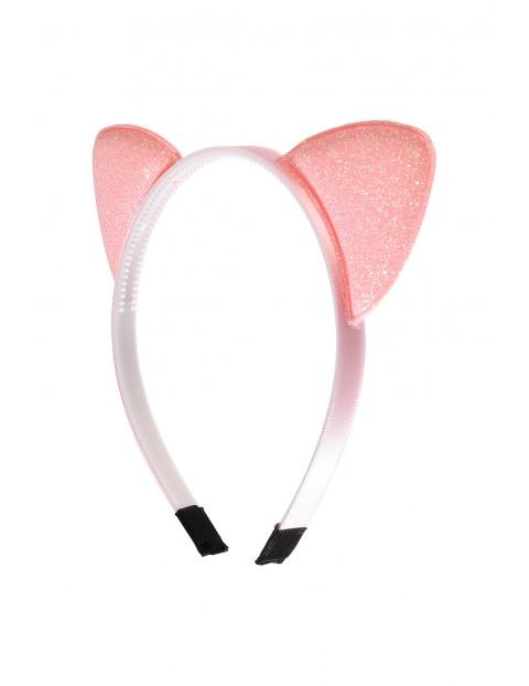 Różowa opaska do włosów z uszami