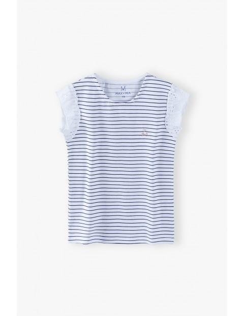Bluzka dziewczęca z paski - biała- ozdobny rękaw