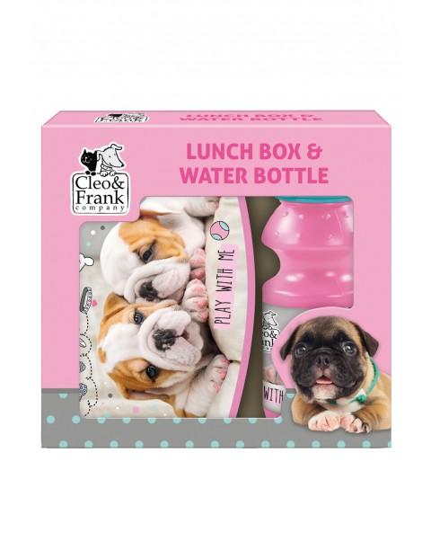 Zestaw śniadaniówka+bidon różowo-niebieski