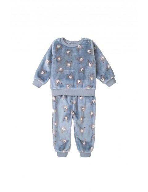 Piżama niemowlęca dwuczęściowa niebieska w misie