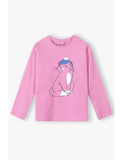 Bawełniana różowa bluzka dziewczęca z kotem