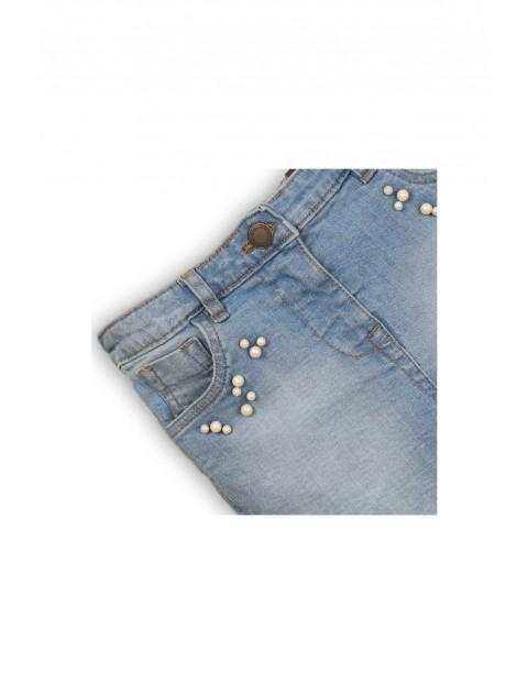 Szorty jeansowe dziewczęce z perełkami