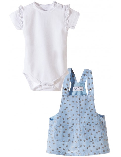 Komplet dla dziewczynki- białe body i niebieska sukienka