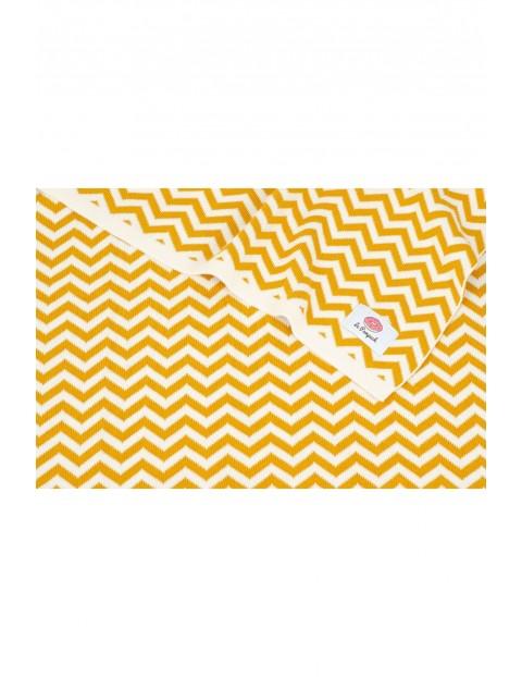 Kocyk bawełniany zygzak - żółty 100x80cm