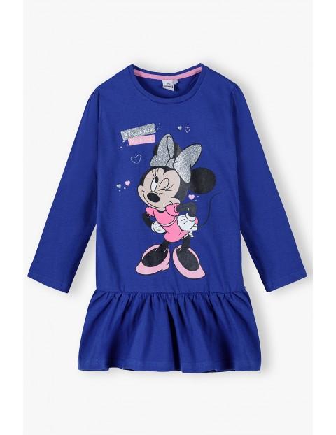 Bawełniana sukienka dziewczęca z Myszką Mickey - niebieska