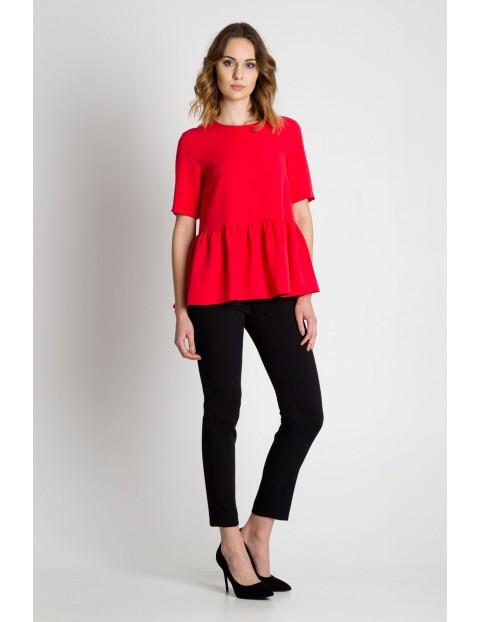 Wiskozowa bluzka damska na krótki rękaw w kolorze czerwonym