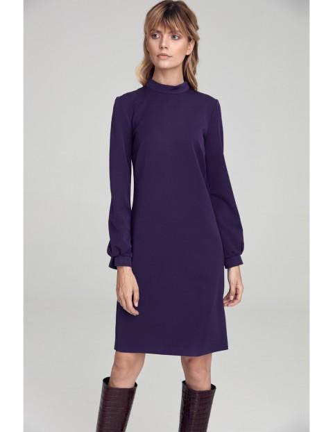 """Sukienka w literę """"A"""" z półgolfem - fioletowa"""
