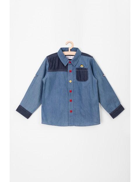 Koszula z długim rękawem- niebieska z ozdobnymi naszywkami