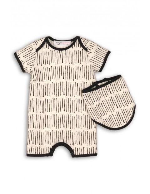 Komplet niemowlęcy kremowy- rampers i apaszka