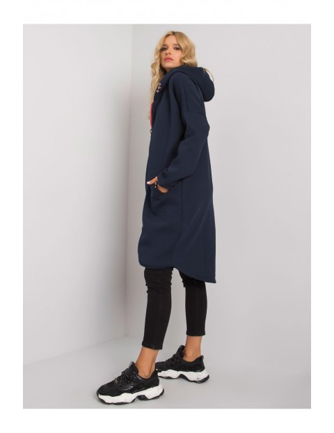 Bluza dresowa damska długa z kapturem - granatowa