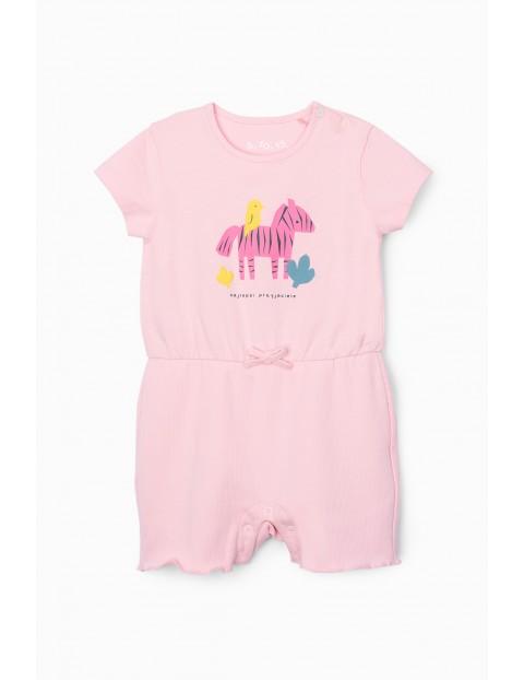 Rampers niemowlęcy ze zwierzakami - różowy