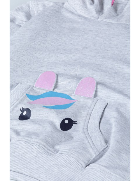 Szara bluza dziewczęca z jednorożcem