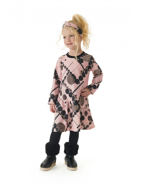Sukienka dziewczęca z długim rękawem w kółeczka - pudrowa