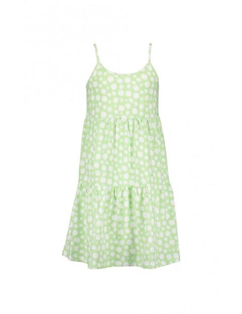 Sukienka dziewczęca zielona na ramiączkach w kropki