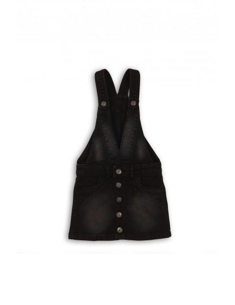 Spódnica dziewczęca jeansowa na szelkach - czarna