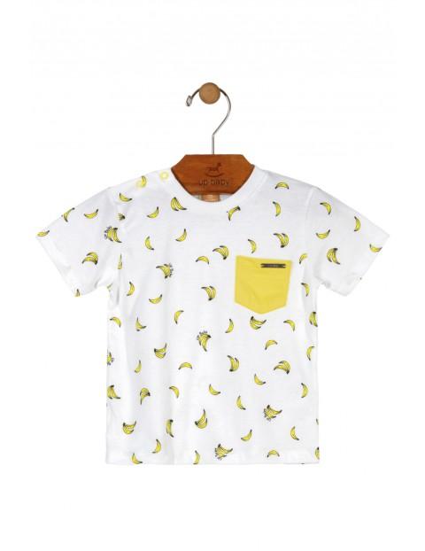 T-shirt niemowlęcy biały w banany