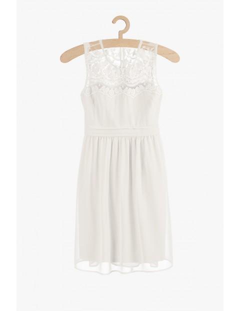 Biała sukienka damska z koronkową górą