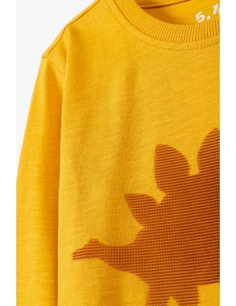 Bawełniana bluzka chłopięca z dinozaurem - żółta