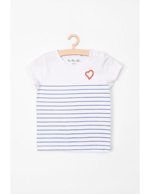 T-Shirt niemowlęcy biały w paski-100% bawełna