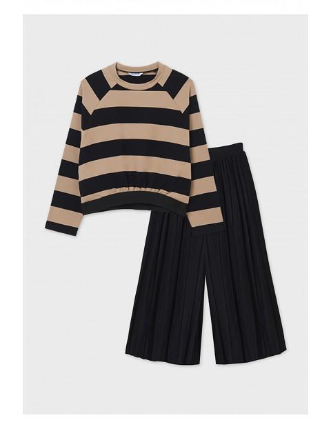 Komplet dziewczęcy - czarne kuloty i beżowa bluza z długim rękawem
