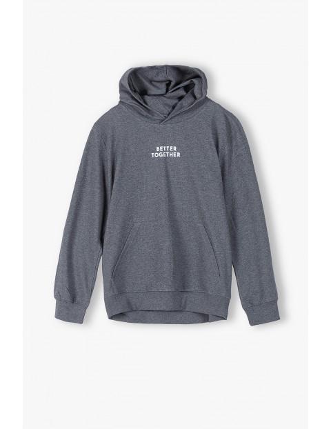 Bluza dla mężczyzny szara z kapturem- Better Together- ubrania dla całej rodziny