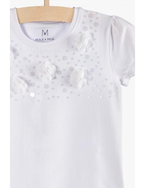 Elegancki t-shirt dla dziewczynki z aplikację 3D- biały
