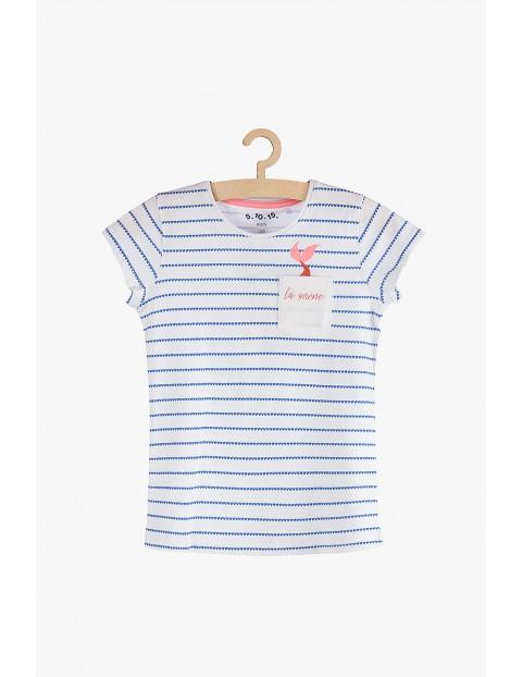 T-shirt dziewczęcy- biały w paski