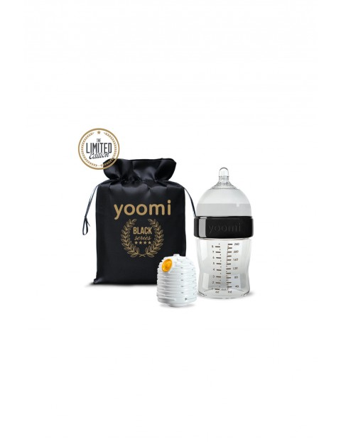 Yoomi GOLD&BLACK! Zestaw BLACK 240 ml z butelką podgrzewaczem